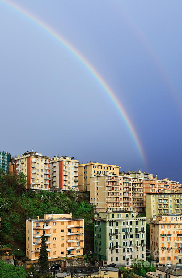 Arc Photograph - Rainbow Over The Town by Antonio Scarpi