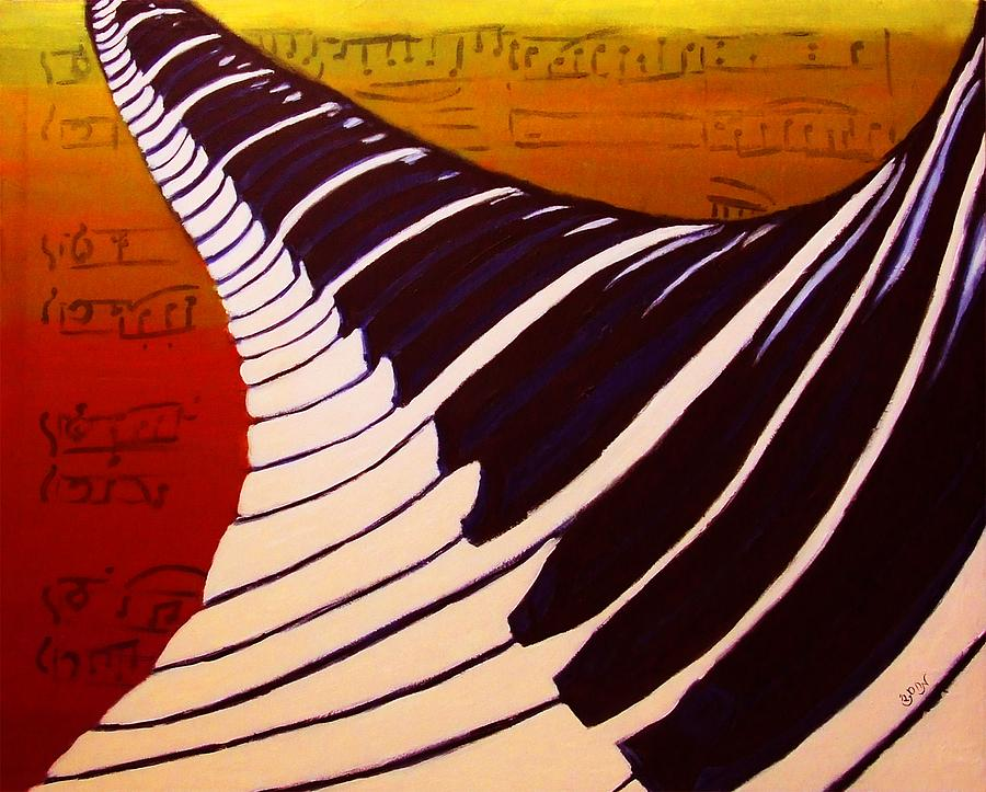 Piano Painting - Rainbow Piano Keyboard Twist In Acrylic Paint With Sheet Music Notes In Blue Yellow Orange Red by M Zimmerman MendyZ