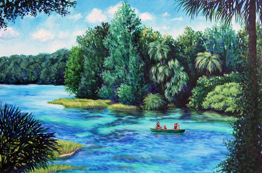 Landscape Painting - Rainbow River At Rainbow Springs Florida by Penny Birch-Williams