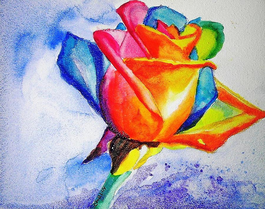 Rainbow Rose Painting By Carlin Blahnik