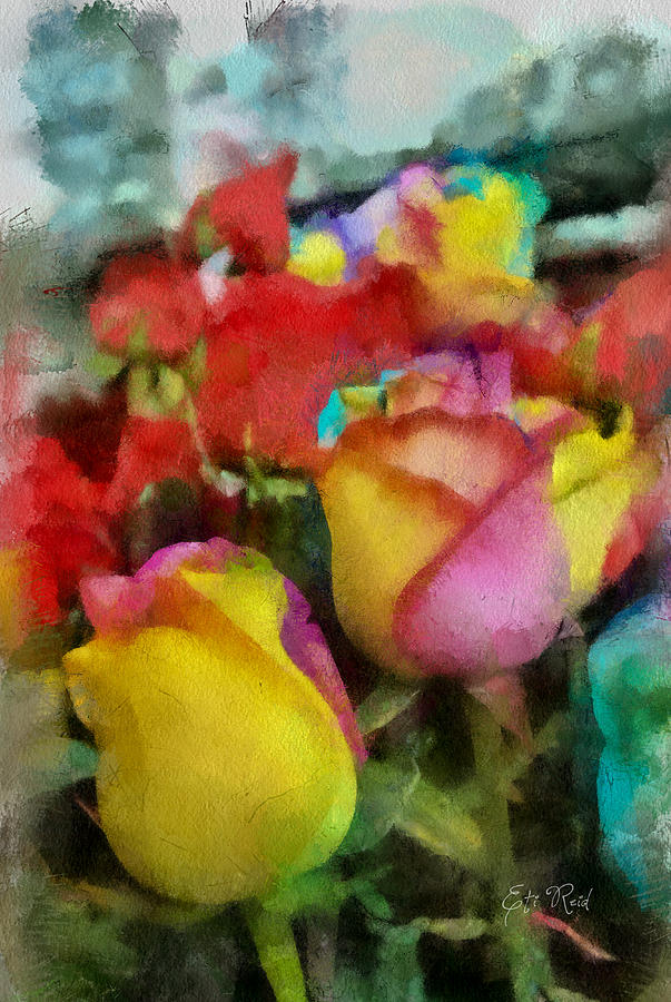 Rainbow Painting - Rainbow Roses Watercolor Digital Painting by Eti Reid