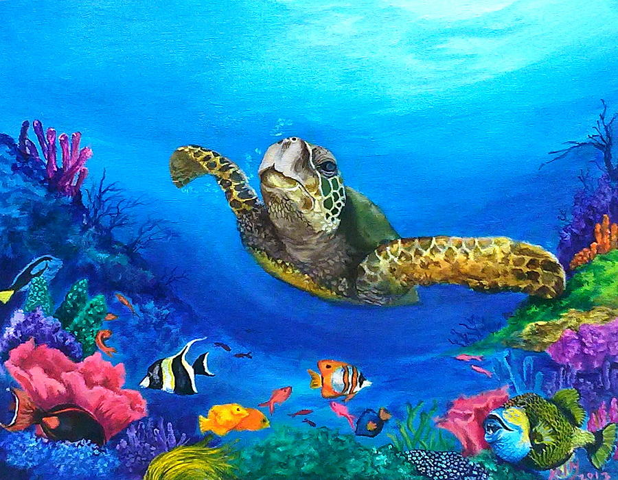 Rainbow reef painting by kathleen kelly thompson for Sea life paintings artists