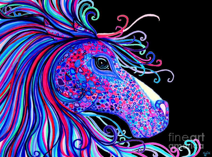 Rainbow Spotted Horse2 Drawing