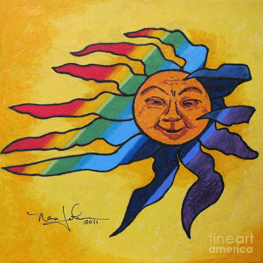 Rainbow Sun Painting By Nancie Johnson