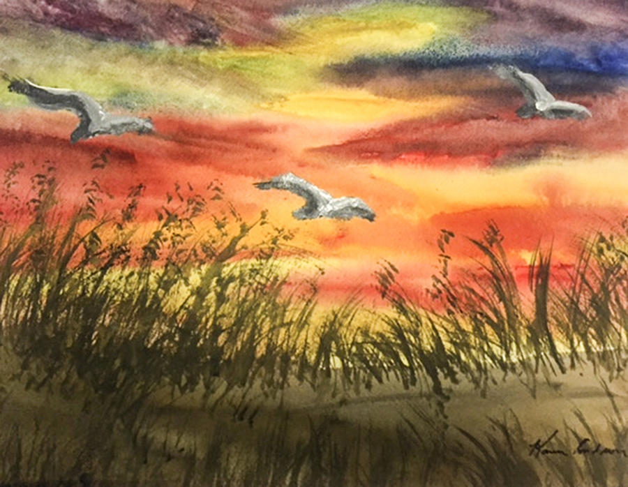 Water Colors Painting - On Wind Of A Rainbow  by Karen  Condron
