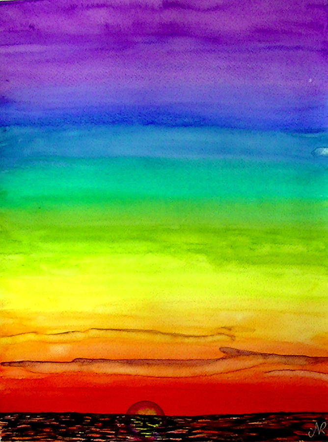 Rainbow Sunset Painting By Nieve Andrea