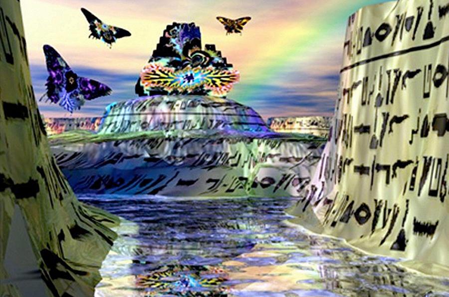 3d Digital Art - Rainbow Temple by Rebecca Phillips