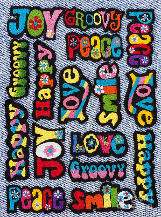 Embroidery Photograph - Rainbow Text by Tim Gainey