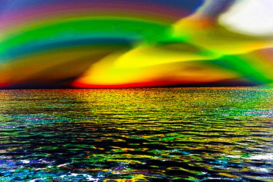 Seascape Digital Art - Rainbow Thunder      Enhanced Version by Rebecca Phillips