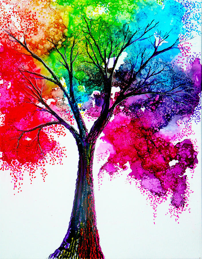 Nature Painting - Rainbow Tree by Ann Marie Bone