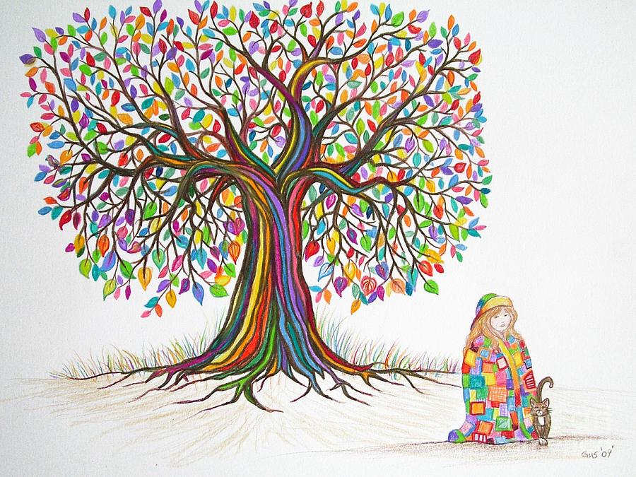 Trees Drawing - Rainbow Tree Dreams by Nick Gustafson