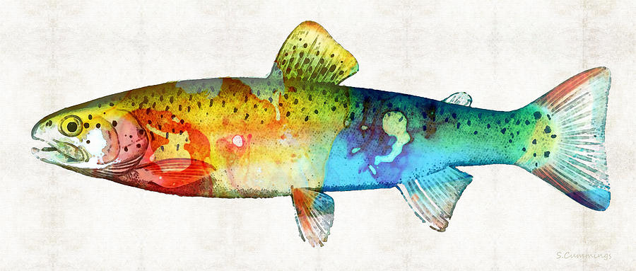 Trout Painting - Rainbow Trout Art By Sharon Cummings by Sharon Cummings
