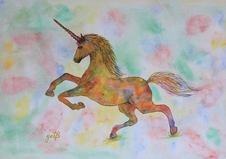 Flower garden paintings - Rainbow Unicorn In My Garden Original Watercolor Painting