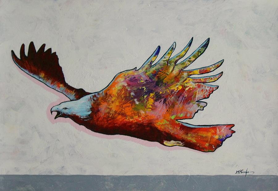 Wildlife Painting - Rainbow Warrior Flying Eagle by Joe  Triano
