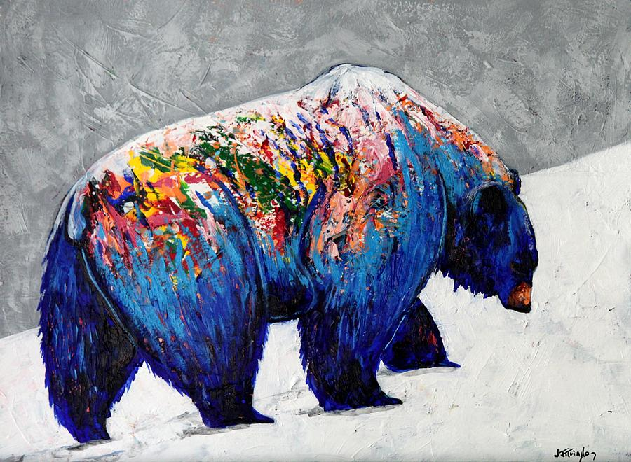 Wildlife Painting - Rainbow Warrior - Heavy Going Grizzly by Joe  Triano
