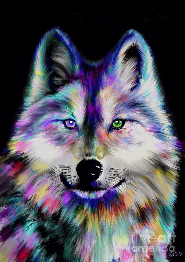 Rainbow Wolf Painting By Nick Gustafson