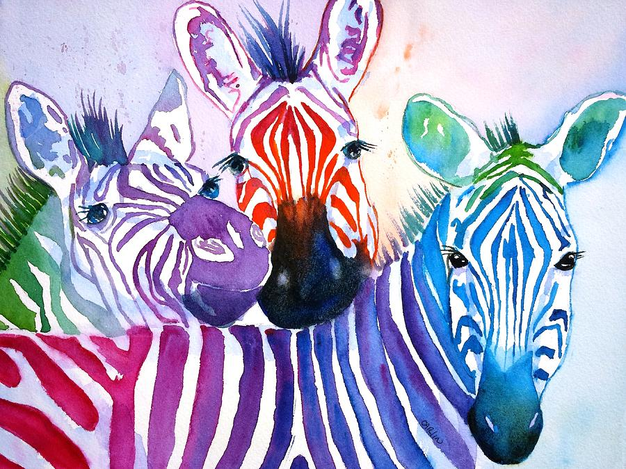 Rainbow Zebras Painting By Carlin Blahnik