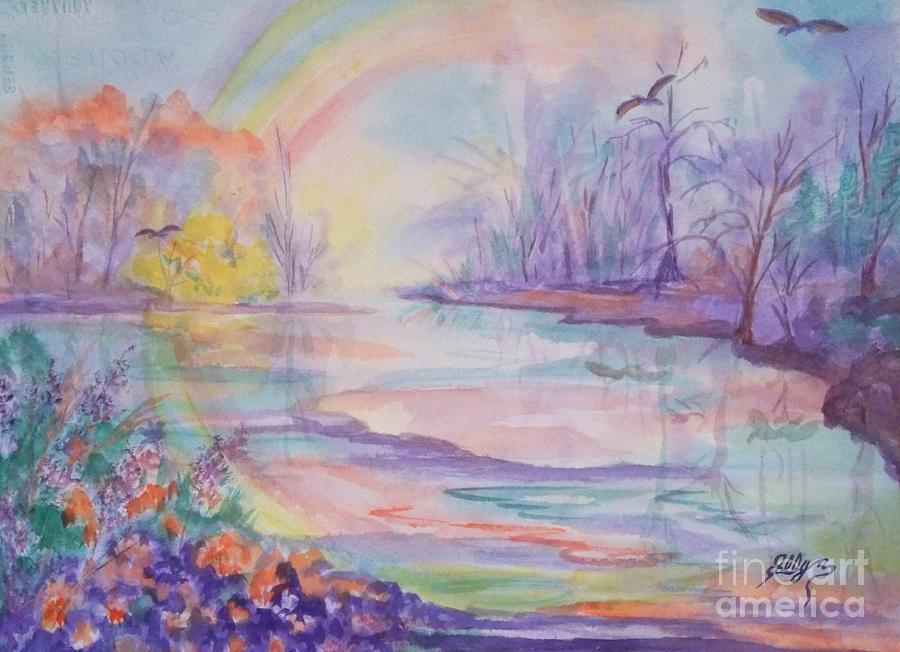 Rainbow Painting - Rainbows End by Ellen Levinson