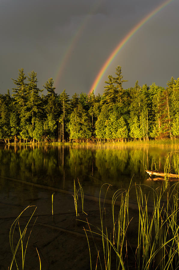 Michigan Photograph - Rainbows Over Otter Lake by Thomas Pettengill