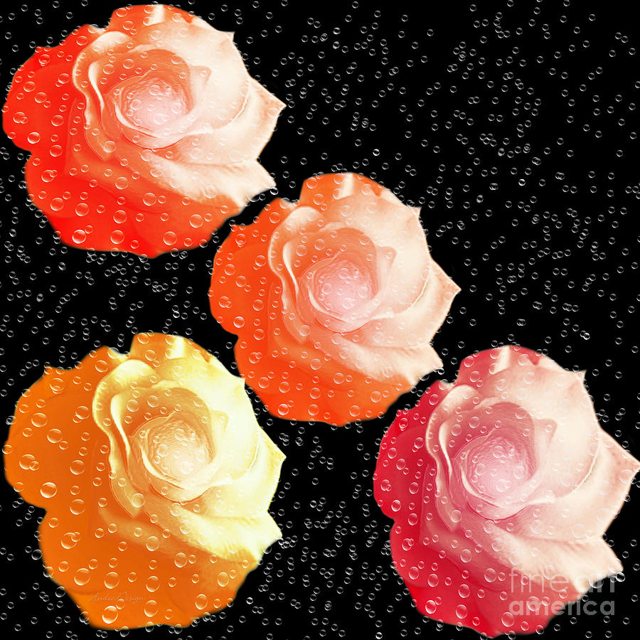Abstract Digital Art - Raindrops On Roses - My Favorite Things by Andee Design