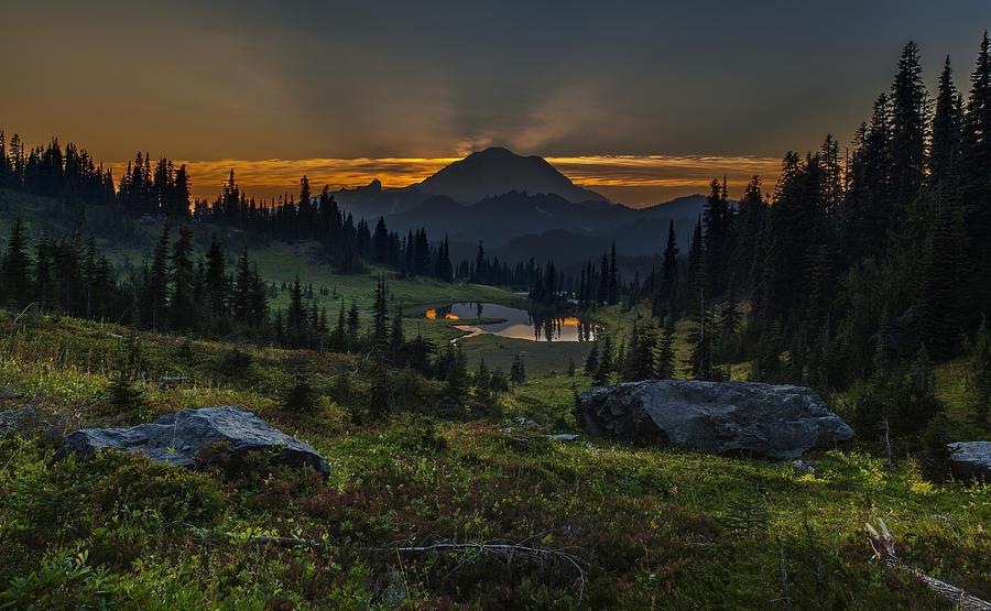 Rainier Photograph - Rainier Sunset Basin by Mike Reid
