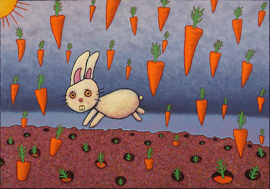 Bunny Painting - Raining Carrots by James W Johnson