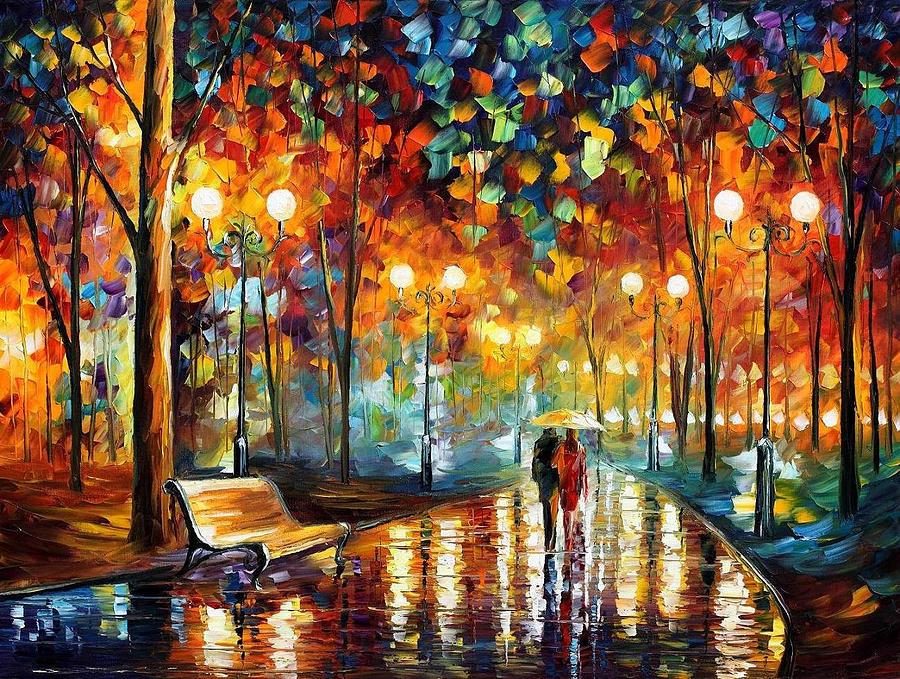 Leonid Afremov Painting - Rains Rustle 2 - PALETTE KNIFE Oil Painting On Canvas By Leonid Afremov by Leonid Afremov