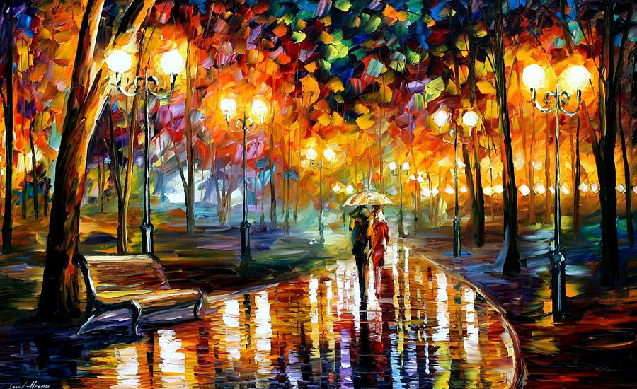 Rain 39 S Rustle Palette Knife Oil Painting On Canvas By