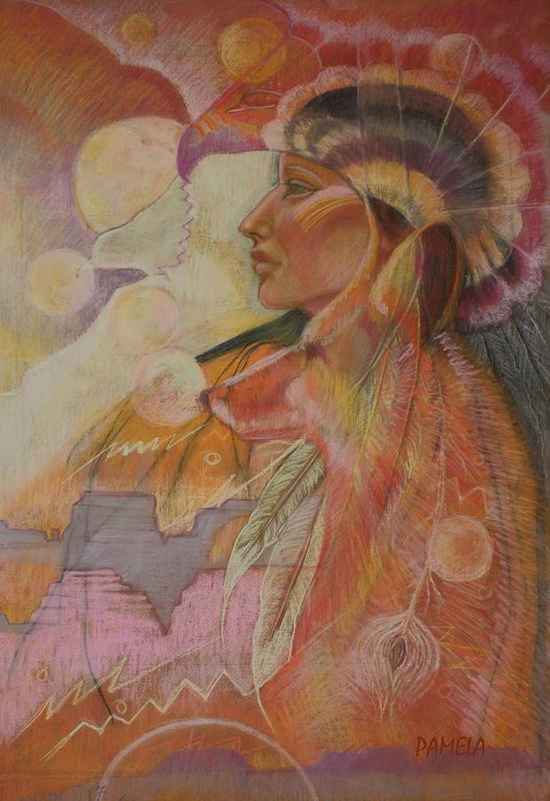American Indian Southwest Indian Woman Hawk Sun  Moon Fox Eagle Orange Purple White Pink Headdress Mountains Mystical  Spiritual Otherworldly Indian Southwest Pastel - Rainsong by Pamela Mccabe