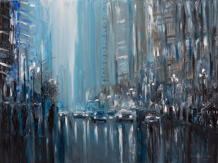 Rainy City London Painting By Salavat Fidai