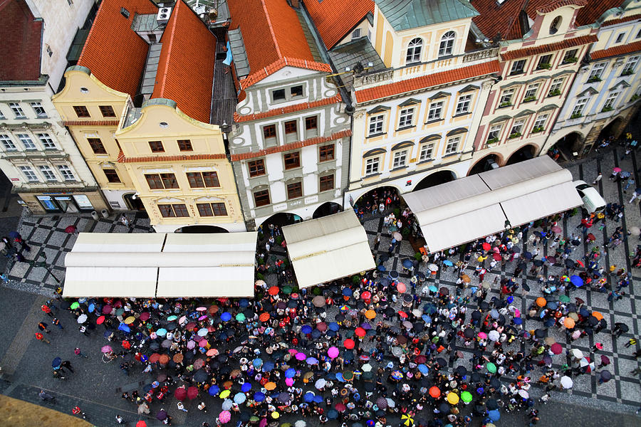 Old Town Square Photograph - Rainy Day In Prague-1 by Diane Macdonald