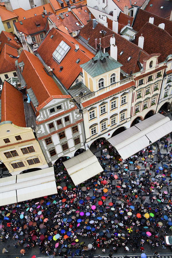 Old Town Square Photograph - Rainy Day In Prague-2 by Diane Macdonald