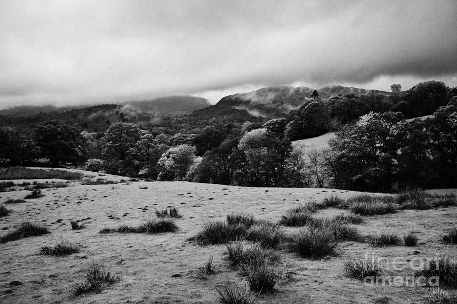 Rainy Photograph - Rainy Day In The Lake District Near Loughrigg Cumbria England Uk by Joe Fox