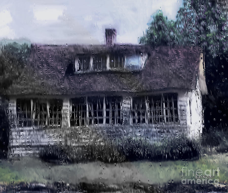 House Painting - Rainy Day Long Ago House by RC DeWinter