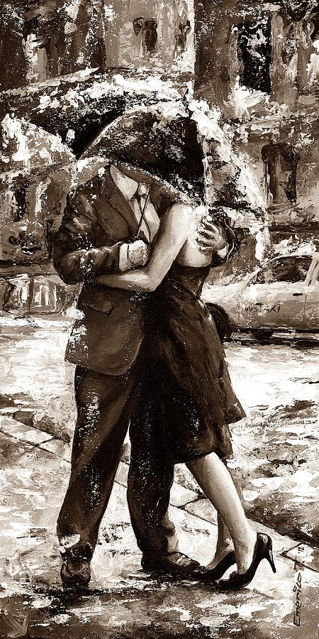 Amorous Painting - Rainy Day - Love In The Rain 2 Sepia by Emerico Imre Toth
