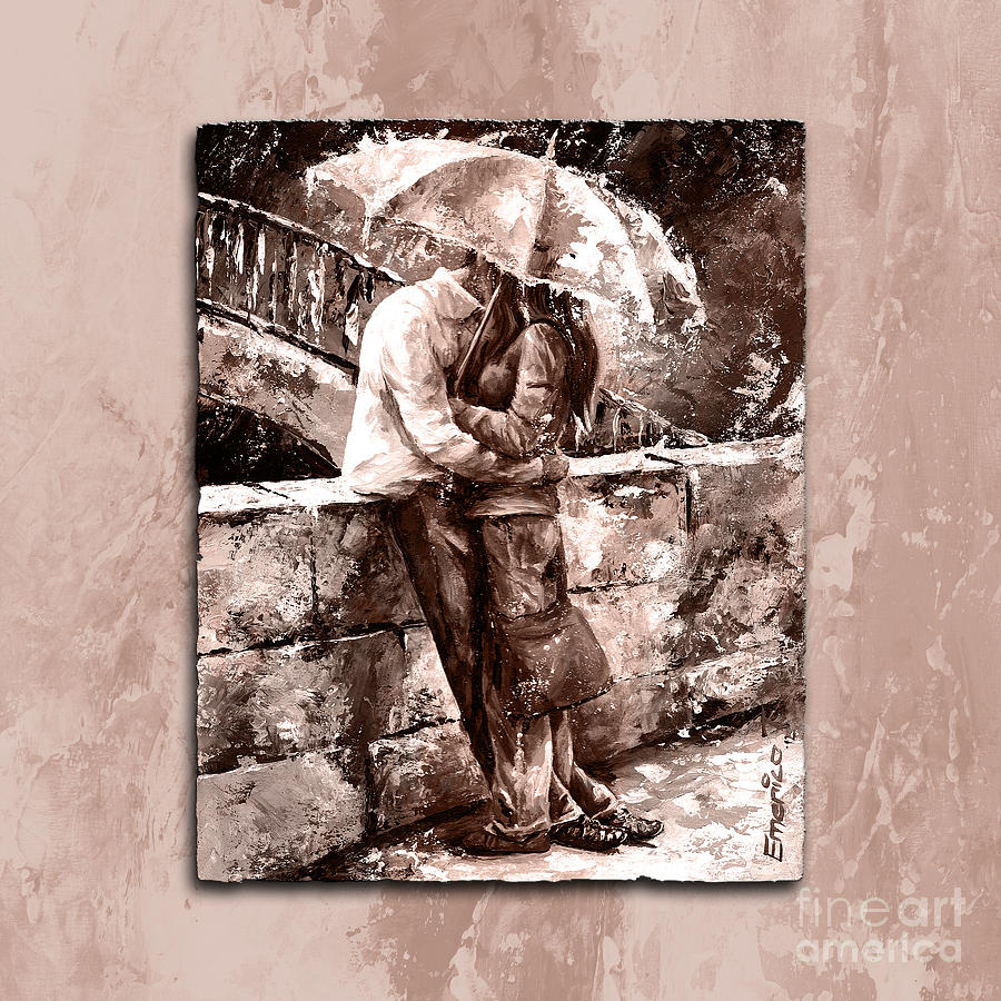 Amorous Painting - Rainy Day - Love In The Rain Style Mistyrose by Emerico Imre Toth