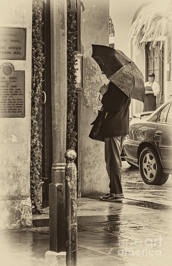 Rainy Day Menu Reading - Monochrome Photograph