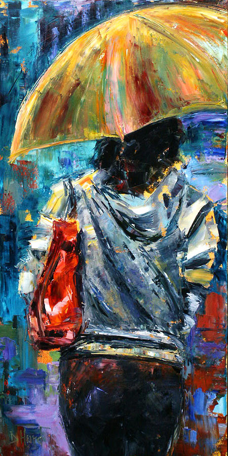 Oil Painting Painting - Rainy Day People #3 by Debra Hurd