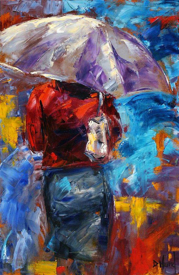 Rainy Painting - Rainy Day People by Debra Hurd