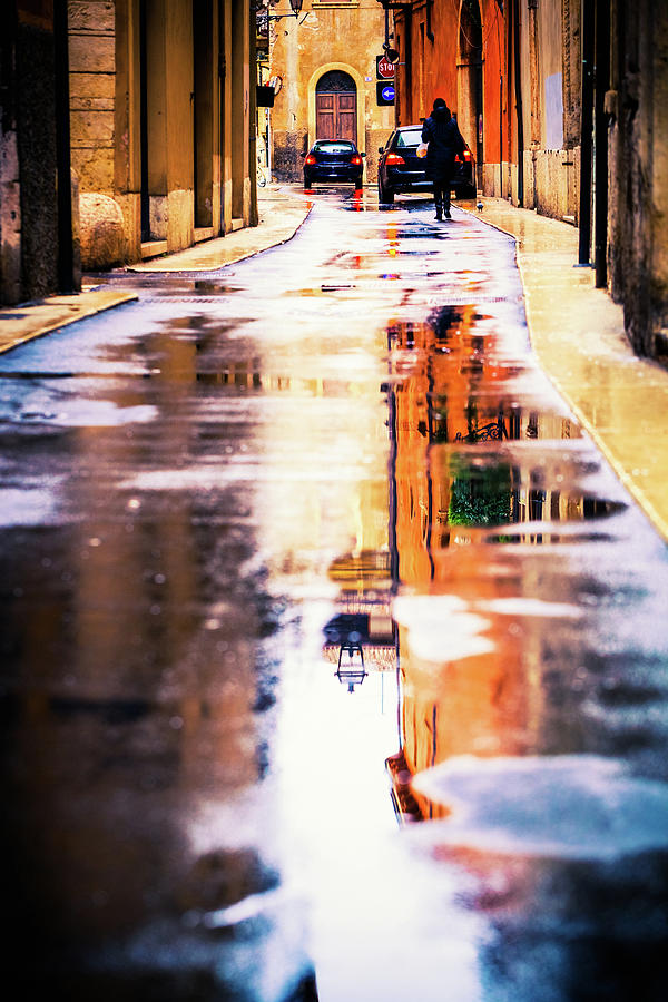 Rainy Day, Street Scene In Italy Photograph by Moreiso
