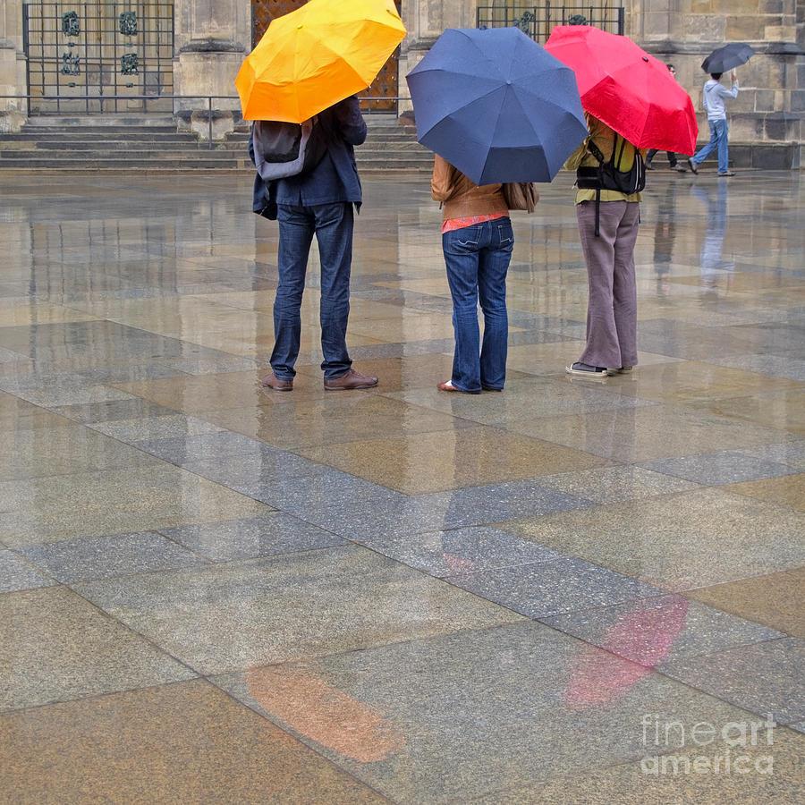Prague Photograph - Rainy Day Tourists by Ann Horn