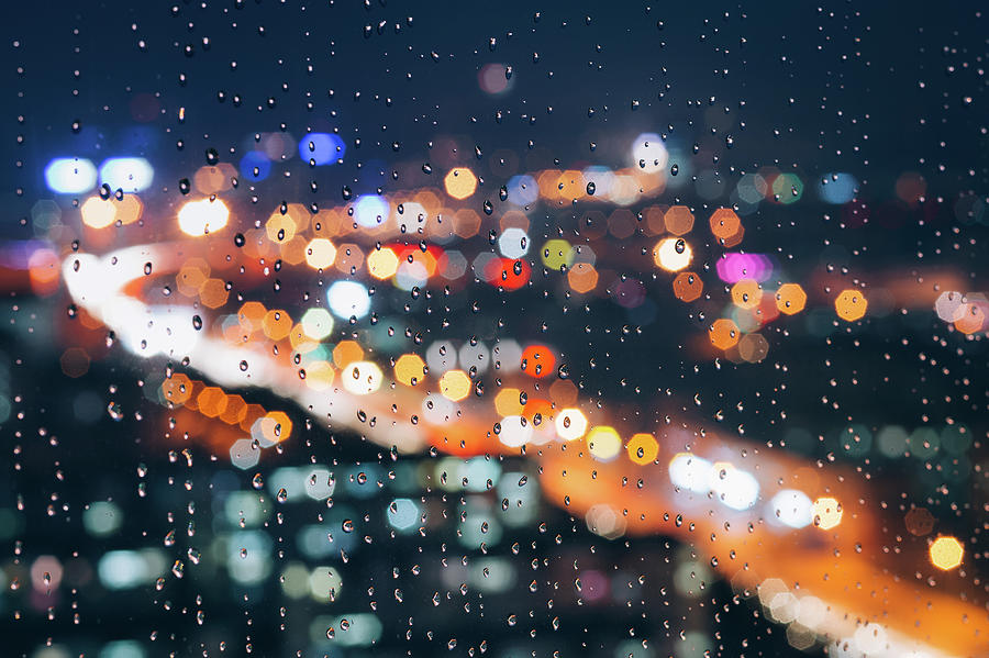 Rainy Day Window With Defocused Lights Photograph by Miragec