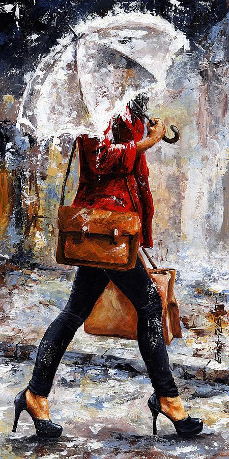Rain Painting - Rainy Day - Woman Of New York 17 by Emerico Imre Toth