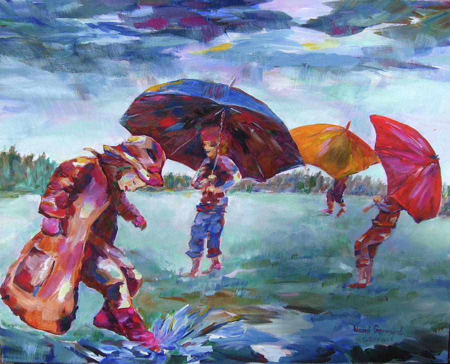 Rainy Day Scene Painting - Rainy Days by Naomi Gerrard