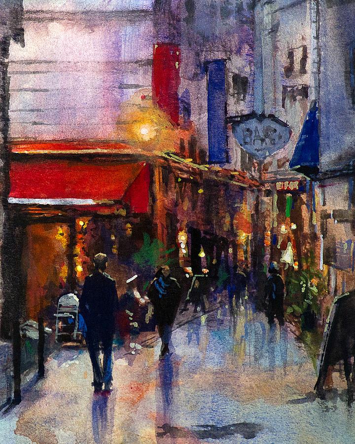 Watercolor Painting - Rainy Evening by Carlos Herrera