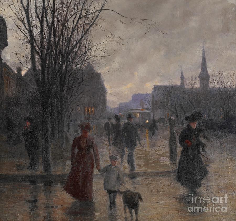 Rainy Evening On Hennepin Avenue Painting By Robert Koehler