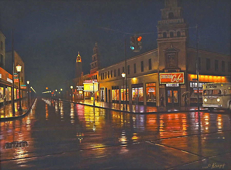 Landscape Painting - Rainy Night-117th And Detroit     by Paul Krapf