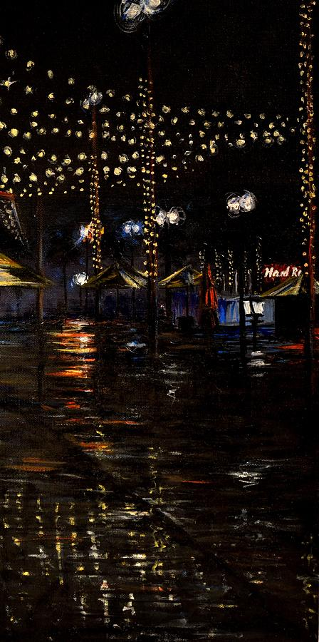 Downtown Disney Painting - Rainy night in Orlando by Karen Strangfeld