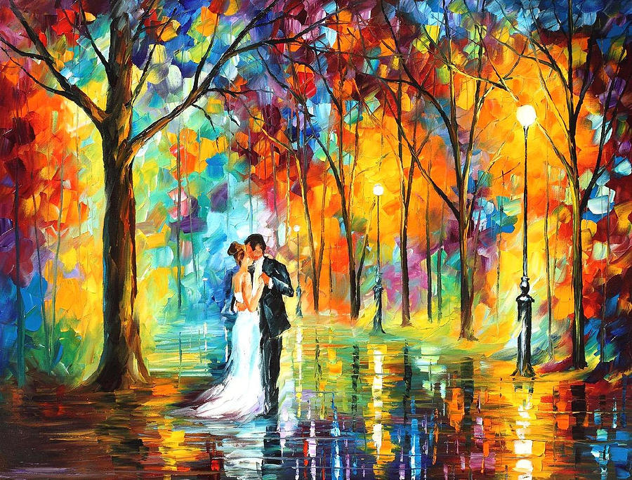 Rainy Wedding Palette Knife Oil Painting On Canvas By