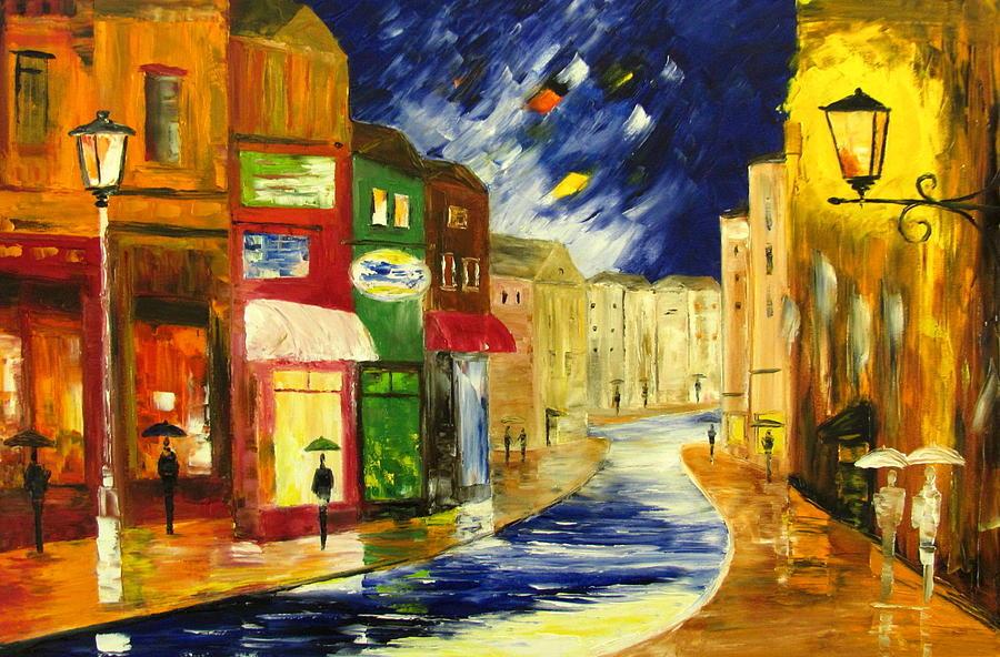 Walking In The Rain Painting - Rainy Weekend by Mariana Stauffer